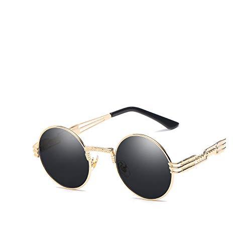 WJFDSGYG Steampunk Mirror Sonnenbrille Gold Und Schwarze Sonnenbrille Round Circle Men