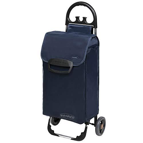 Einkaufstrolley ETY Einkaufswagen Trolley in blau - klappbare & leichte Shopping Einkaufshilfe mit leisen Rädern & Kühlfach