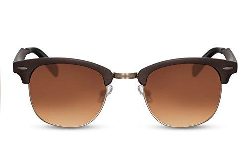 Cheapass Sonnenbrille Braun UV-400 Halbrahmen Vintage Retro Plastik Dahmen Herren