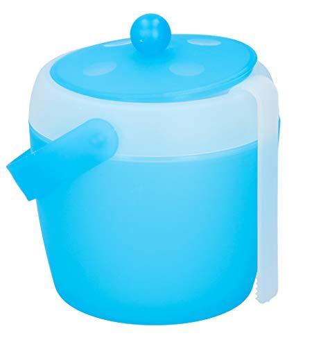 Eiswürfelbehälter mit Deckel Eisbox Zange Blau 1,5 L Eiseimer Eiswürfeleimer Eiseimer Eiswürfel