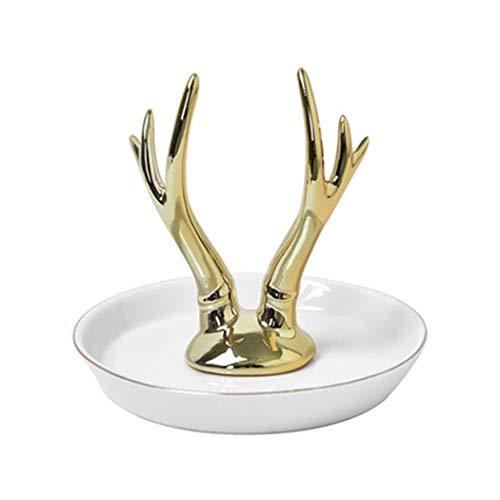YONGYONG Dekoration Gold Geweih Lagerfach Kreative Schmuck Europäischen Elfenbein Weiß Keramik Schmuck Rahmen Schmuck Halskette Schmuckschale 14 * 14 * 11,5 cm (Farbe : Gold)