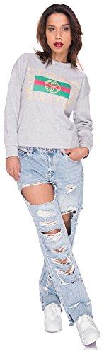 Longsleeve Shirt Damen Sweater Stripes Sweatshirt Streifen Pulli T-Shirt Top Oberteil Oucci Logo Hellgrau