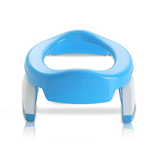Lorcoo Vasino da viaggio, 2 in 1 Vasino portatile per bambini (Blu/Bianca)