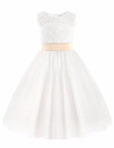 er Kleid Blumenmädchen Kleid Brautjungfern Hochzeitskleid Festlich Festzug Kleid Partykleid Weiß 92/2 Jahre (Satin Blumenmädchen Kleider)