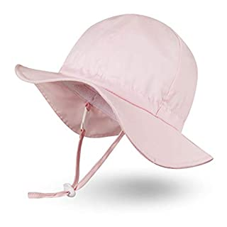 Ami&Li tots Unisex Child Adjustable Wide Brim Sun Protection Hat UPF 50 Sunhat for Baby Girl Boy Infant Kids Toddler - S: Pink