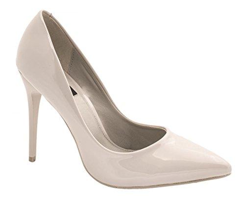 Elara Spitze Damen Pumps | Bequeme Lack Stilettos | Elegante High Heels 66-10-A-Grau-38