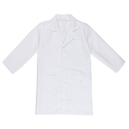 iEFiEL Bata Blanca Cosplay Uniforme de Laboratorio Disfraz de Doctor Enfermera Abrigo Chaqueta para Niño Niña Unisex Blanco 10-12 Años