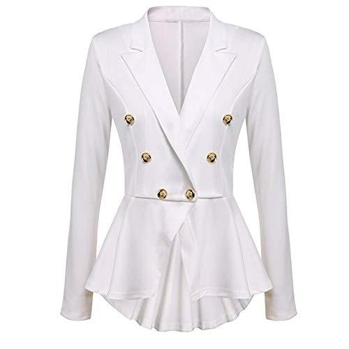 OIKAY Mäntel Damen Blazer Rüschen Peplum Button Casual Langarm Jacke Mantel Outwear(Weiß,EU-36/M)