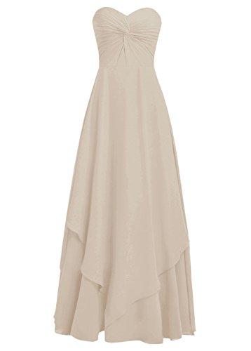 Dresstells Robe longue de soirée Robe de demoiselle d'honneur asymétrique mousseline col en cœur sans bretelles Champagne
