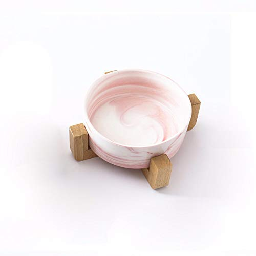Pet Online Keramikschale aus Massivholz mit Marmor Katze und Kleiner Hund mit Wasserschüssel, 14 × 7cm, rosa -