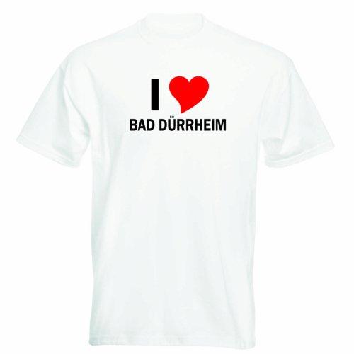 T-Shirt mit Städtenamen - i Love Bad Dürrheim - Herren - unisex Weiß