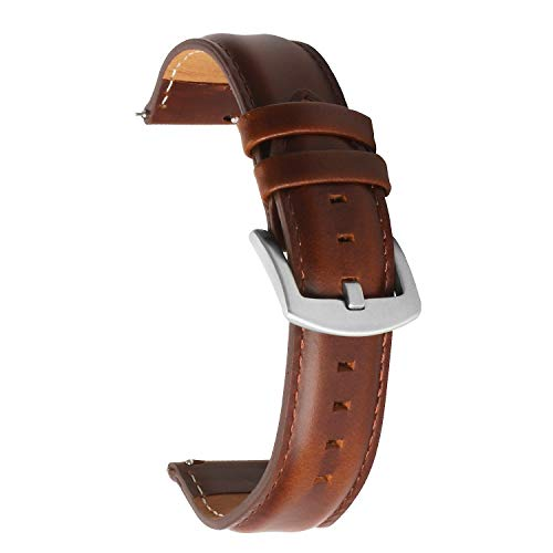 20mm Bänder Leder Schnellspanner Uhrenarmbänder mit Edelstahlmetallschnalle Dunkelbraun Beobachten