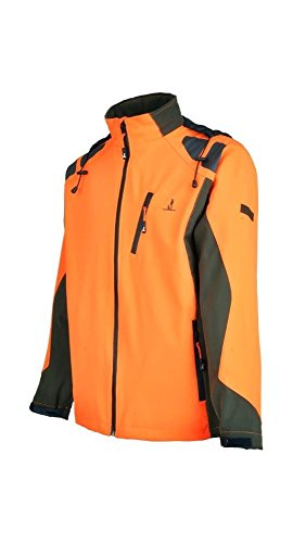 Percussion - Blouson de chasse orange fluo kaki Softshell Percussion