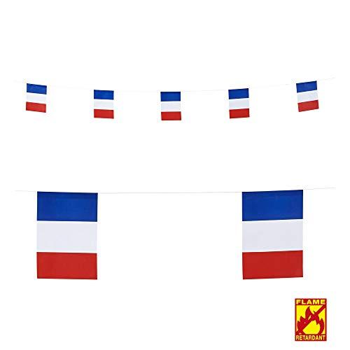 Widmann 05323 Girlande Französische Flaggen, Unisex– Erwachsene, Blau/Weiß/Rot, One Size