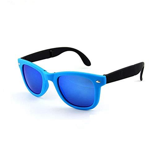 GY-HHHH Retro-, UV400 Schutz, beiläufige dekorative Sonnenbrille der Frauen - Einkaufenreisesonnenbrille - faltende kleine Kasten-Sonnenbrille-Blau 1