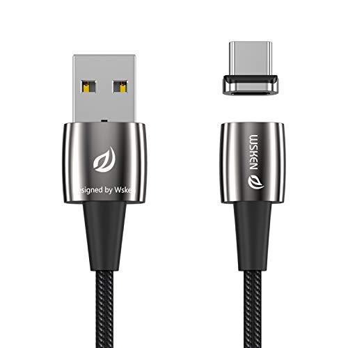 WSKEN Magnetisches USB-Typ-C-Kabel, X1 Pro-USB-C-Ladekabel Schnellladesynchronisationsdatenkabel mit LED-Anzeige für Samsung Galaxy S9 +, LG G6, MotoZ-Kraft, Google Pixel XL und mehr(1.2M/4ft, Black)