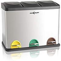 MAXCRAFT Cubo de Basura Cubo de Reciclaje Basurero Acero Inoxidable Cocina 3 Contenedores con Tapas Capacidad para 45 litros (3 x 15 litros)