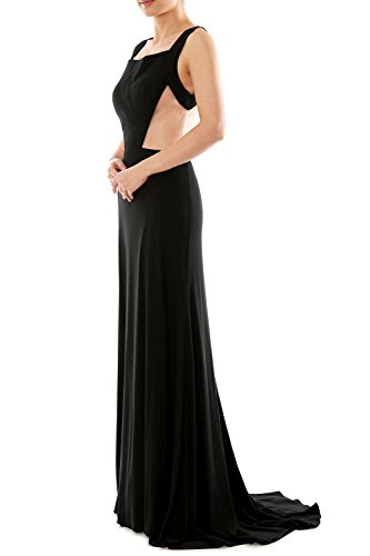 MACloth Women's Straps Scoop Neck Jersey Long Evening Gown Formal Party Dress Himmelblau