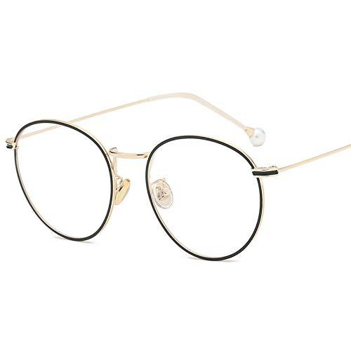YMTP Leichte Brillen Frames Vintage Runde Myopie Brillenfassungen Für Männer Und Frauen Metall Silber Gold Brillengestell, Gold Schwarz