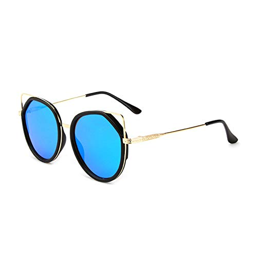 HQMGLASSES Retro Cat Eye Sonnenbrillen Vintage Square Shade Frauen Cute Skinny Cat Eye Brillen,Blue (Costa Del Mar-objektiv)