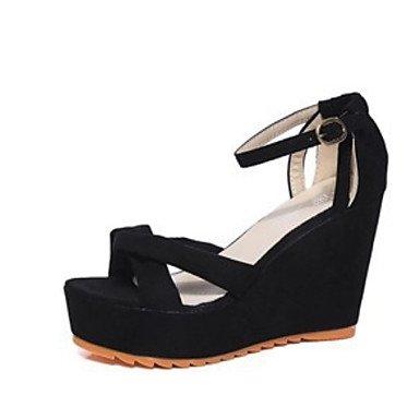 Sanmulyh Femmes Chaussures Pu Confort Été Peep Toe Sandales Pour Casual Vert Rose Gris Noir Noir