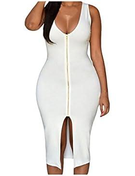 Vestido Atractivo De La Decoración Sin Mangas Cremallera De La Manera Cadera Del Paquete De