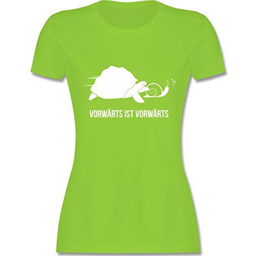 Laufsport - Vorwärts ist vorwärts - tailliertes Premium T-Shirt mit Rundhalsausschnitt für Damen Hellgrün