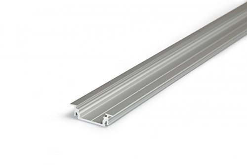 2M empotrable aluminio perfil groove14(gr14) 2metros-Tira de-Perfil de aluminio anodizado para tiras LED con cubierta-Set de riel (Slide de Click) lechoso de color blanco (Opal) satinado de Frosted transparente de Transparente con montaje de grapas y tapas, aluminio, transparent-klar click, transparent click