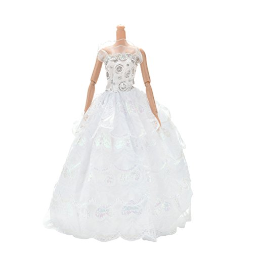 BESTIM-INCUK-Doll-Clothes-Fashion-Handmade-White-4-Layer-Sequin-Gown-Dress-for-Barbie-Doll-Girls-Birthday-Gift