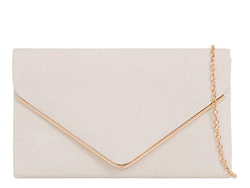 LeahWard Damen Clutch Bag Wildleder Abend Handtaschen (Elfenbein) - Elfenbein-abend-handtasche