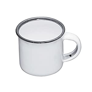 KitchenCraft Living Nostalgia Enamel Espresso Mug, White/Grey, 90 ml (3 fl oz)