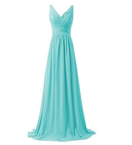 Milano Bride Einfach V-ausschnitt Zwei-traeger Abendkleider Partykleider Brautjungfernkleider Lang A-linie Rock Blau