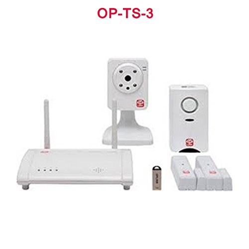 HOME BURGLAR Sistema de alarma sin cables CCTV MOTION DETECTION DOOR SENSORS OPLINK TRIPLESHIELD KIT 3-1X CÁMARAS CCTV WIRELESS 1X Alarma SIREN 2X DOOR / Ventanas 1 X USB DRIVE EASY TO VIP PLUG