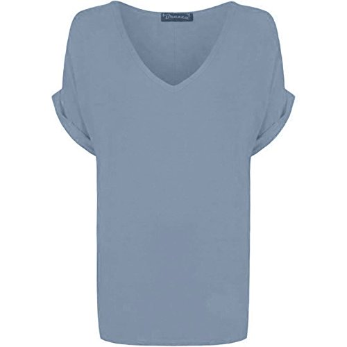 Neue Damen Frauen Uni V Hals Kurze Ärmel Baggy Turn Up T-Shirt plus Größe. UK 8–26 Gr. 40, Hellgrau (V-hals T-shirt Damen Grau)