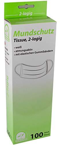 100 Stück Mundschutz Tissue aus Spezial Papier mit Ohrenschlaufen von Medi-Inn verschiedene Lagen (2-lagig)