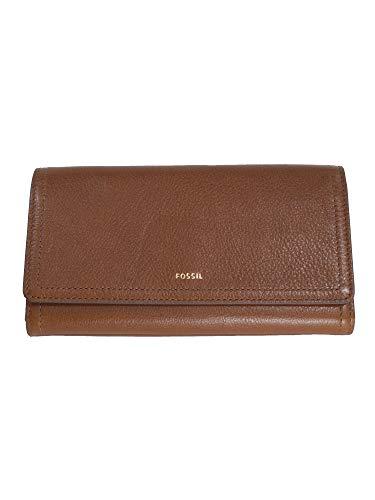 0500e51b22cf1 Fossil Damen Geldbörse Portemonnaies RFID Logan Flap Leder Braun SL7833-200