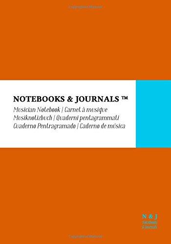 Cuaderno de Música Notebooks & Journals, Extra Large, Naranja, Tapa Blanda: (17.78 x 25.4 cm)(Cuaderno Pentagramado, Libreta Pentagrama, Bloc de Música) por Notebooks & Journals