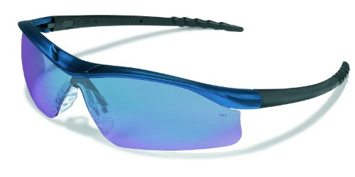MCR Safety DL318B Dallas Safety Glasses with Blue Metallic Frame and Blue Diamond Mirror Lens by MCR Safety