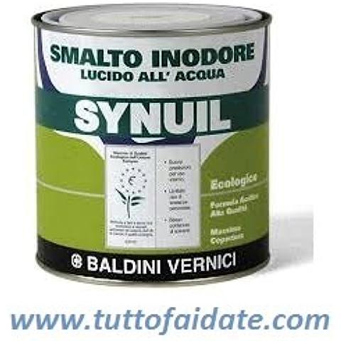 Smalto all'acqua non ingiallente inodore Ecolabel base acqua a basso V.O.C. Synuil-2,5 Litri-Bianco