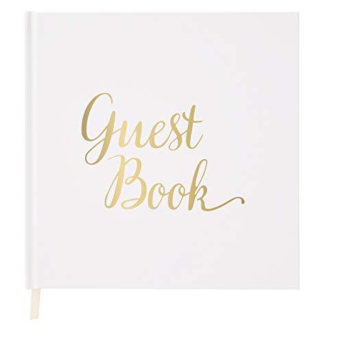 Livre d'or mariage - Papier Blanc, Ruban Couleur Ivoire et Estampage Avec Feuille or Métallisée, 180 g/m² - Anniversaire Baptême Fête