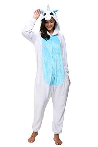 Tier Karton Kostüm Einhorn PyjamaTierkostüme Jumpsuit Erwachsene Schlafanzug Unisex Cosplay L(Höhe162-175CM) Hellblau Einhorn
