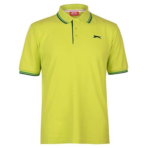 Slazenger Tipped Polo Shirt Mens Short Sleeve Stripe Tennis Detail Polo Shirt - Lime Green - XX-Large
