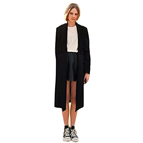Femme Cardigan, Feixiang exclusif customisation Fashion ouvert avant Trench Long Cape vestes Manteau Cascade Cardigan XL noir