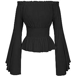 Blusa Gótica para Mujer Blusa Medieval Tops De Basic Manga Larga con Hombros Descubiertos Blusa Elegante para Mujer De La Vendimia Slim Fit Carmen Blusa Ropa (Color : Negro, Size : L)