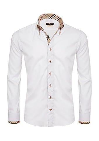 Giorgio Capone Premium Design Herrenhemd, 100% Baumwolle, weiß, Doppelkragen, Langarm, Slim & Regular Fit (XL (Easy Care Leinenhemd)