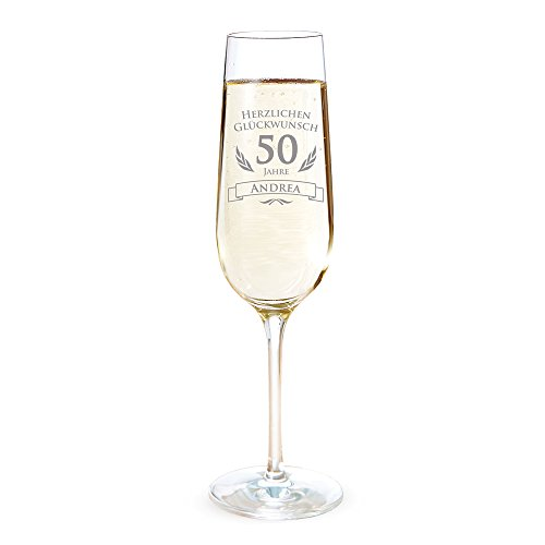 AMAVEL Sektglas mit Gravur zum 50. Geburtstag – Personalisiert mit [Namen] - Geburtstagsgeschenk für Männer und Frauen – Geschenkidee für Frauen – Glas für Champagner und Prosecco – Sektflöte – Sektkelch Gläser Frauen