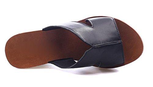 Frau Sommer Freizeit Hang mit hochhackigen Sandalen und Schuhe Pantoffeln Black