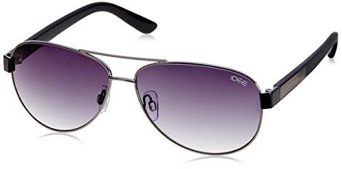 IDEE Aviator Sunglasses (IDS1851C2SG|100|Shiny Black and Gun ) image
