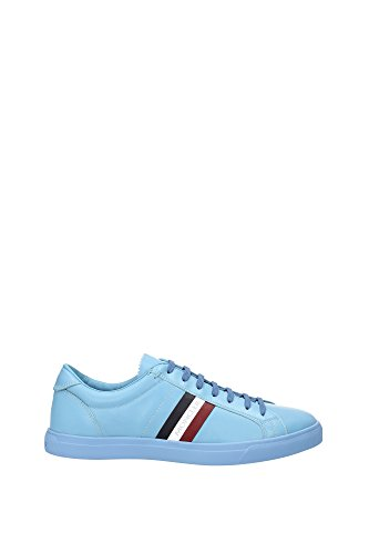 Sneakers Moncler Uomo Pelle Blu Chiaro, Blu Scuro, Bianco e Rosso B109A101270007903717 Blu 42EU