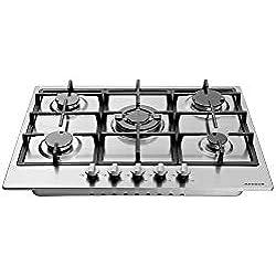Arebos Table de Cuisson Gaz 5x Brûleurs/Acier Inoxydablede/Convient au gaz naturel